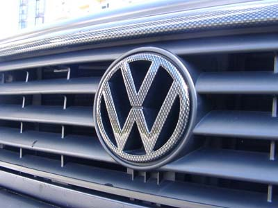 Carbon fiber looked VW emblem